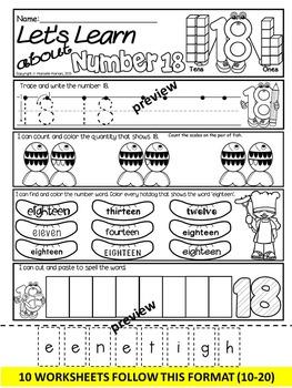 NUMBER WORKSHEETS-Daily Math practice worksheets-NUMBERS 10-20 (KINDERGARTEN)