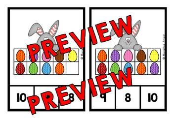 KINDERGARTEN EASTER ACTIVITIES (TEN FRAME EGGS COUNTING CLIP CARDS)