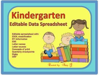 KINDERGARTEN DATA SPREADSHEET for Letter Names/Sounds, Print Concepts