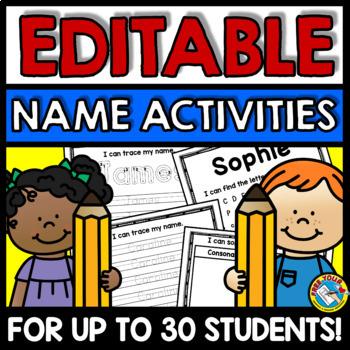 Name Activities Kindergarten Editable Name Practice Sheets
