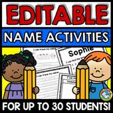 EDITABLE NAME ACTIVITIES WRITING PRACTICE WORKSHEETS & TRACING KINDERGARTEN PREK