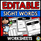 EDITABLE SIGHT WORDS WORKSHEETS (EDITABLE SIGHT WORDS PRACTICE 1ST GRADE)