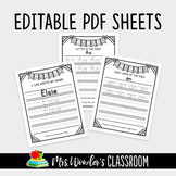 Editable Pdfs - Kindergarten write my name, letter and sight words practice