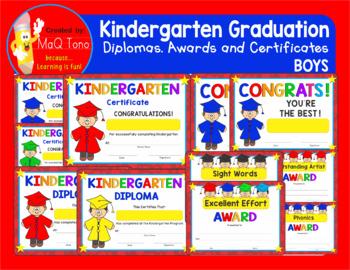 KINDERGARTEN GRADUATION BOYS Diplomas Certificates and Awards