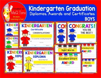 KINDERGARTEN GRADUATION BOYS Diplomas Certificates and Awards