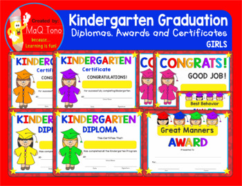 kindergarten graduation girls diplomas certificates and awards by