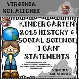 KINDERGARTEN HISTORY & SOCIAL SCIENCES  'I CAN' STATEMENTS