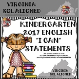 KINDERGARTEN ENGLISH  'I CAN' STATEMENTS VA SOL ALIGNED