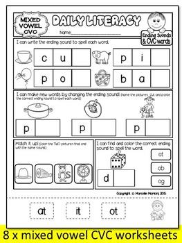 KINDERGARTEN Literacy daily practice morning work- Set 2 (CVC, Ending sounds)