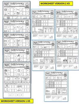KINDERGARTEN Literacy daily practice worksheets-Set 3 (CVC, MIDDLE sounds)