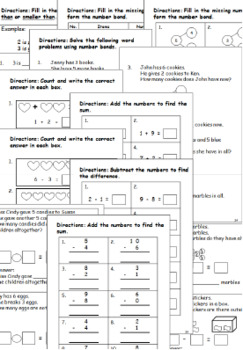 KINDERGARTEN MATH WORKSHEETS SET 1 - BACK TO SCHOOL