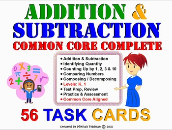 ADDITION & SUBTRACTION COMPLETE SET K-1 COMMON CORE ALIGNED 56 WORKSHEETS/CARDS