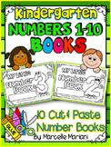 NUMBER BOOKS -Color, cut & paste NUMBER books 1-10 (KINDERGARTEN)