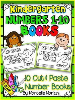 NUMBER BOOKS -Color, cut & paste NUMBER books 1-10 (KINDERGARTEN)