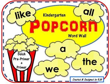 KINDERGARTEN Popcorn Word Wall -EDITABLE- DOLCH Premier & Primer Set