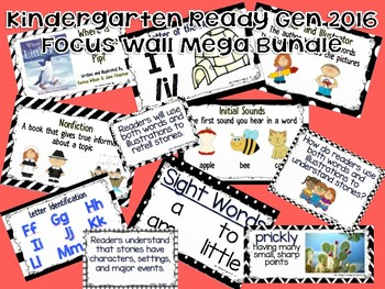 KINDERGARTEN READY GEN 2016 FOCUS WALL **Mega Bundle** - BLACK AND WHITE THEME