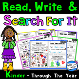 KINDER:Read, Write Dolch Words & Search For It Comprehension Notebook Activities