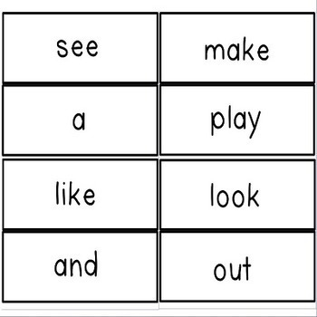 Kindergarten Sight Word Flash Cards for Students and Teacher
