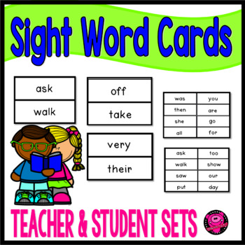 Sight Word Flash Cards for Kindergarten Teachers and Students