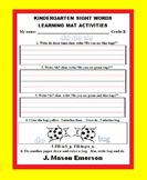 KINDERGARTEN SIGHT WORDS LEARNING MAT ACTIVITIES (ON SALE JUNE-JULY)