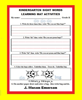 KINDERGARTEN SIGHT WORDS LEARNING MAT ACTIVITIES (ON SALE