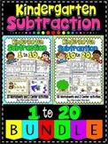 SUBTRACTION WORKSHEETS- KINDERGARTEN SUBTRACTION WORKSHEETS BUNDLE 1-20