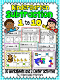 SUBTRACTION WORKSHEETS- SUBTRACTION WORKSHEETS FOR KINDERGARTEN (1-10)
