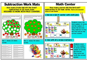 SUBTRACTION WORKSHEETS-SUBTRACTION WORKSHEETS FOR KINDERGARTEN (10-20)