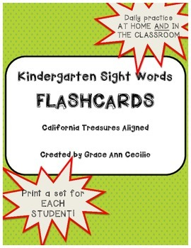 KINDERGARTEN Sight Words Flashcards - Treasures