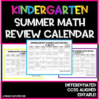 KINDERGARTEN Summer Math Review Calendar!! Differentiated! Editable!