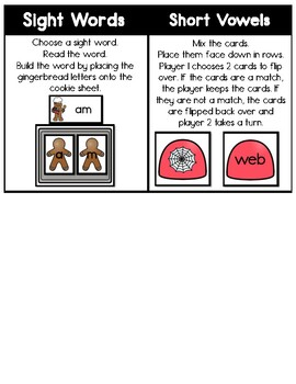 KINDERGARTEN Task Cards - Gingerbread