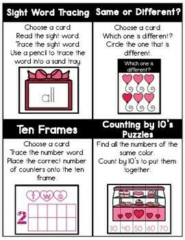 KINDERGARTEN Valentine's Day Task Cards