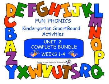 FUN PHONICS, KINDERGARTEN UNIT 2, COMPLETE BUNDLE (WEEKS 1-4)