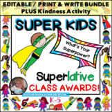 50 End of Year Classroom EDITABLE SUPERLATIVES CLASS AWARDS Superhero Kids {EOY}