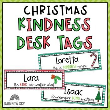 KINDNESS Editable Desk Name Tags {Christmast theme}