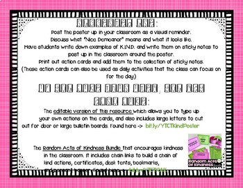 KINDNESS Poster and Action Cards Challenge FREEBIE