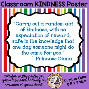KINDNESS quote Princess Diana poster Back to School Be KIND motivational theme