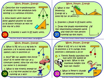 KINETIC & POTENTIAL ENERGY, WORK, POWER: 36 Task Cards w/Key 108 problems graphs