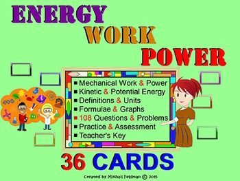 KINETIC & POTENTIAL ENERGY, WORK, POWER: 36 Task Cards w/K