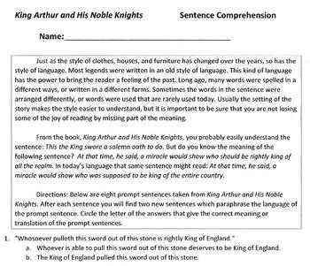 KING ARTHUR Worksheet: Sentence Comprehension of 8 Paraphrased Prompts