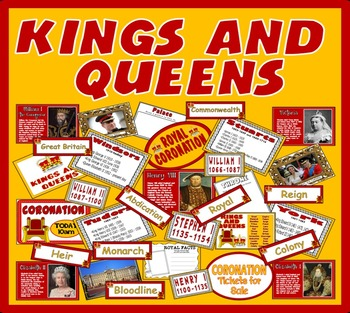 KINGS AND QUEENS RESOURCES KEY STAGE 1-2 HISTORY DISPLAY R
