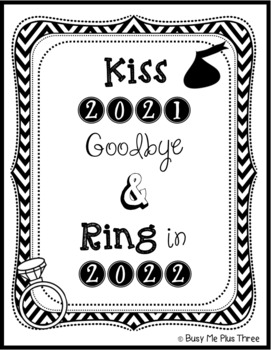 KISS 2017 Goodbye and RING in 2018, {Student Gift Tag}, New Year