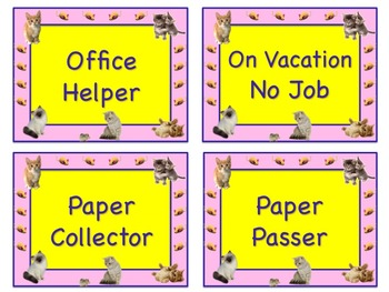 Too Cute KITTEN Theme Job Chart Cards / Signs - Great for Classroom Management!!