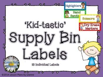 'KId-tastic' Supply Bin Labels  Back To School