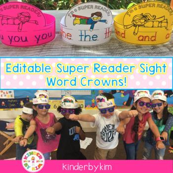 Kinderbykim's Super Reader Sight Word Crowns