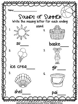 Kindergarten End of the Year Review-Freebie!