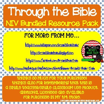 KJV Bible Verses, Background Info, and Student Response Sheets (School License)