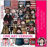 American heroes clip art - LINE ART - by Melonheadz