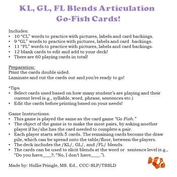 KL, GL, FL Blends Articulation Go Fish Cards