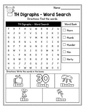 50% OFF KN Digraph Worksheets, QU Digraph Worksheets - Word Search